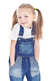 Smiling Little Girl In Blue Jeans Royalty Free Stock Photos