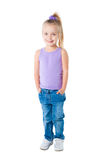 Smiling Little Girl In Purple T-shirt Stock Photos