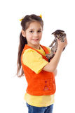 Smiling little girl with kitty in hands Royalty Free Stock Image