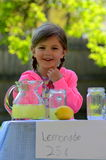 Smiling little girl at lemonade stand in summer. Smiling little girl with braids and pink jacket at her lemonade stand Royalty Free Stock Photos