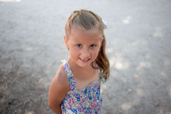 Smiling little girl without one tooth royalty free stock photos
