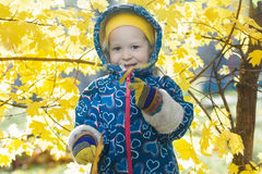 Smiling little girl outdoor portrait at yellow autumn shrubbery leaves background Stock Photo