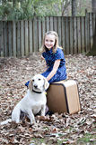 Smiling little girl outdoors with white dog Royalty Free Stock Images