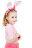 Smiling little girl with pink ears bunny Stock Images