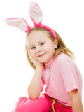 Smiling little girl with pink ears bunny Stock Photography
