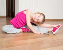 Little girl engaged in fitness Royalty Free Stock Photo