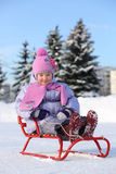 Smiling little girl in pink scarf and hat sits on sled Royalty Free Stock Image