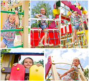 Smiling little girl playing on playground equipment Stock Photos