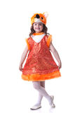 Smiling little girl posing dressed as fox Stock Image