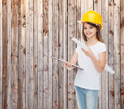 Smiling little girl in protective helmet Royalty Free Stock Images