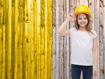 Smiling little girl in protective helmet Royalty Free Stock Photo