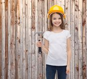 Smiling little girl in protective helmet Stock Photos