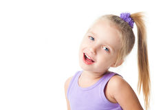 Smiling little girl in purple t-shirt Stock Image