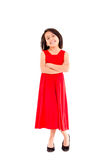 Smiling little girl in red dress Royalty Free Stock Photo