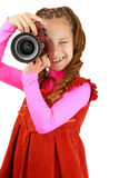 Smiling little girl in red dress Royalty Free Stock Photos