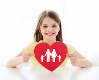 Smiling little girl with red heart and family Stock Image