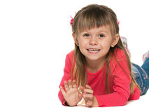 Cheerful girl in red on the white background Royalty Free Stock Image