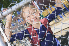 A smiling little girl at school playground Royalty Free Stock Photos