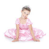 Smiling little girl with silver crown Stock Images
