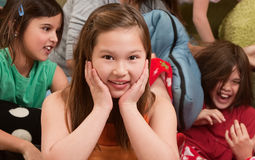Smiling Little Girl At Sleepover Royalty Free Stock Photos