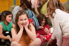 Smiling Little Girl At Sleepover Stock Image
