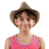 Smiling little girl in straw hat Royalty Free Stock Photography