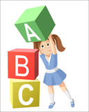 Smiling little girl, studying the alphabet. Child isolated on white background stock illustration