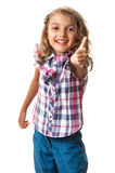 Smiling little girl thumb up Royalty Free Stock Images