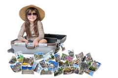 Smiling little girl travel Amsterdam concept Stock Photography