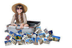 Smiling little girl travel Bruges concept Stock Photos