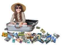 Smiling little girl travel NYC concept Stock Photo