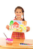 Smiling little girl with watercolor painting Stock Photos