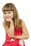 Smiling little girl  on the white background Stock Photos