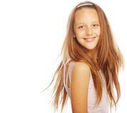 Smiling little girl on white background in studio royalty free stock image
