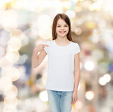 Smiling little girl in white blank t-shirt Royalty Free Stock Photography