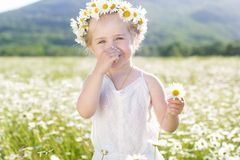 Smiling little girl with wreath of chamomiles Stock Images