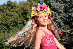 Smiling little girl in wreath Stock Photography