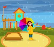 Smiling little girl in yellow raincoat walking with rainbow umbrella on playground in rainy day vector ilustration vector illustration