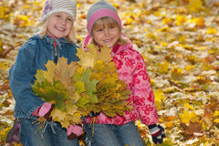 Smiling little girls with autumn leaves. Two laughing  little girls with yellow leaves in autumn park Royalty Free Stock Photos