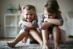 Smiling little girls. stock photo