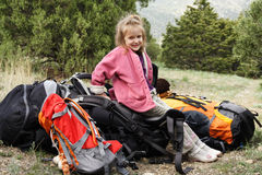 Smiling little hiker on a rest Royalty Free Stock Image
