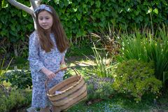 Smiling little latina girl in garden in Spring dress with Basket. In the Spring or Summer royalty free stock photo