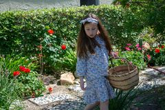 Smiling little latina girl in garden in Spring dress with Basket. In the Spring or Summer stock photos