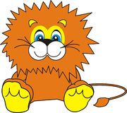 Smiling Little Lion. The small ridiculous kind young lion sits and smiles - a toy, an animated cartoon, vector Stock Photo
