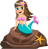 Smiling Little Mermaid Rock Sea Star Isolated Stock Images