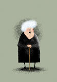 Smiling Little Old Lady. Funny cartoon of a smiling old lady in a black dress with a cane Stock Photo