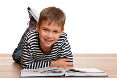 Smiling little reader Royalty Free Stock Photo