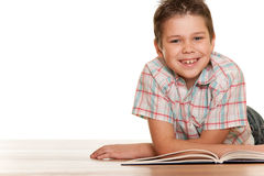 Smiling little reader Stock Photos
