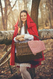 Smiling Little red riding hood Stock Photography