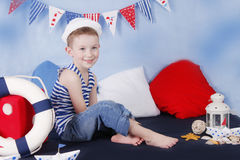 Smiling little sailor Stock Photography